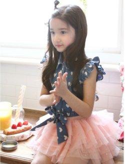 画像1: 【韓国子供服】ハート ドット フリルブラウス 可愛い袖なしシャツトップス キッズ