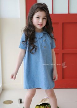 画像1: 【韓国子供服】ガールズ デニムカラーワンピース