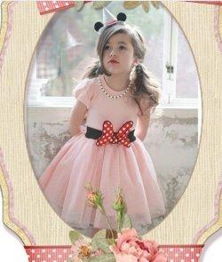 画像2: 【韓国子供服】フワフワ ミニー リボンがポイント ミニーちゃんみたいになれちゃう ワンピース ディズニー /Dress ドレス
