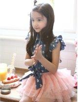 【韓国子供服】ハート ドット フリルブラウス 可愛い袖なしシャツトップス キッズ