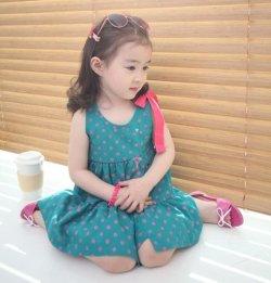画像1: 【韓国子供服】キッズ 女の子 ドット ワンピース /Girl,Dot One Piece Dress