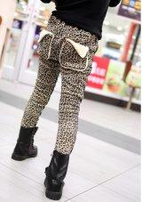 【韓国子供服】フロントとバックのデザインが可愛い☆アニマル柄パンツ あったか キッズ ロングパンツ
