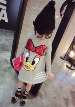 画像1: 【韓国子供服】スパンコールリボン デイジー スウェットワンピース キッズ